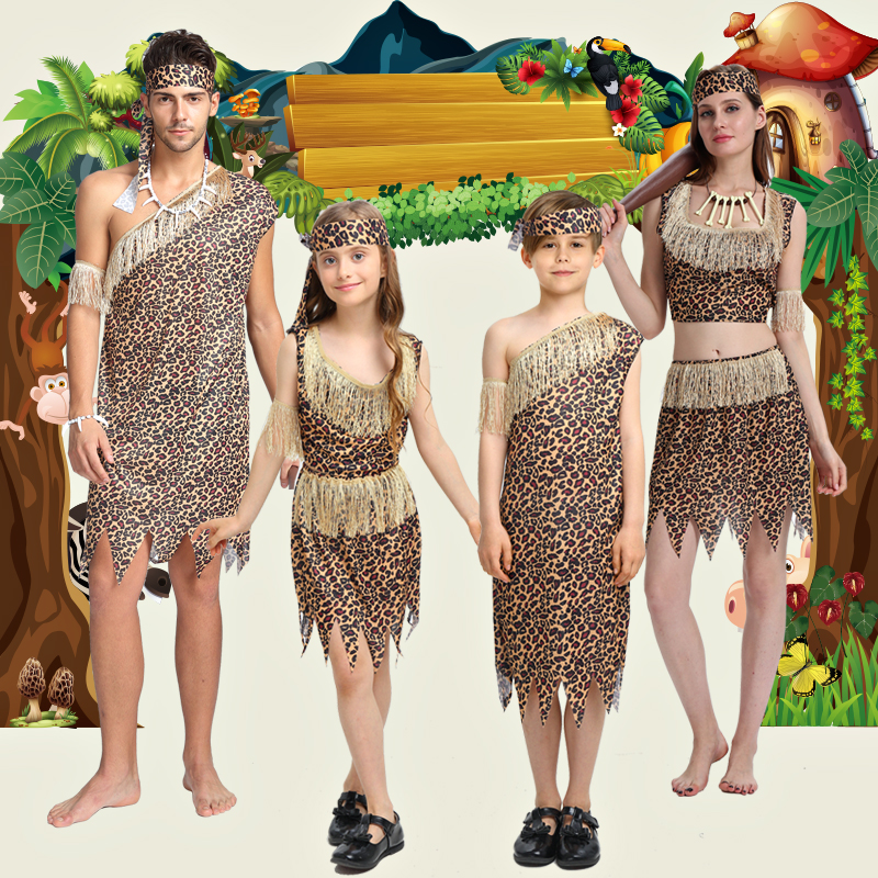 Halloween Childrens Day cosplay costume wildman adult male savage native primitive women Indian leopard performance