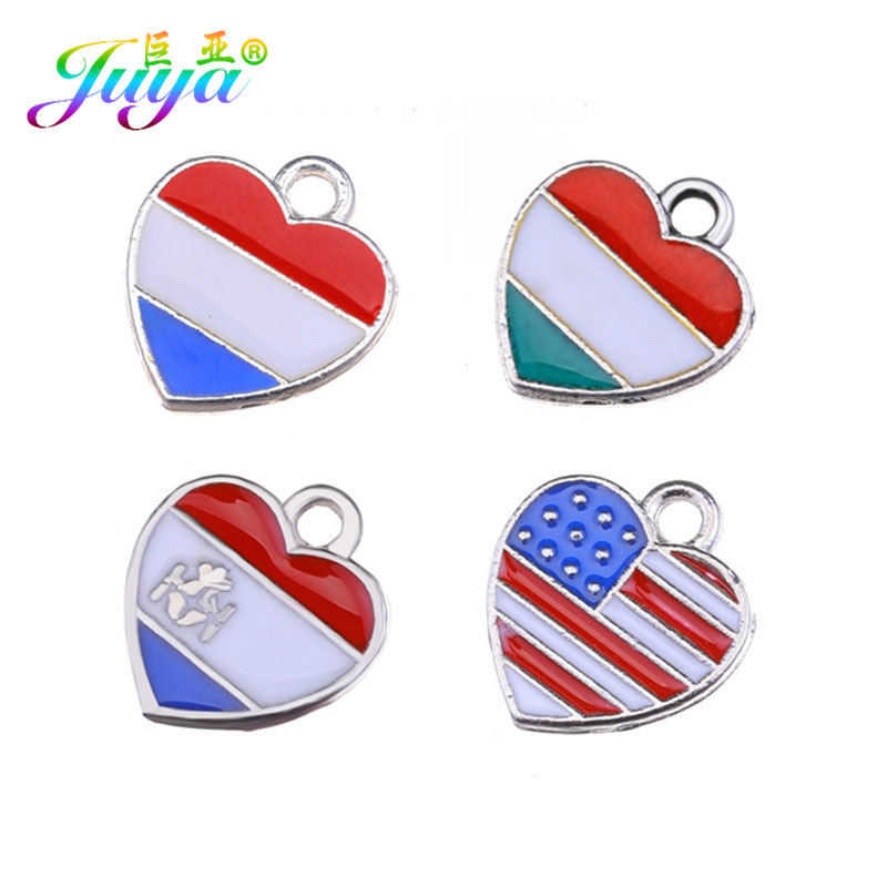 Juya Flag Charms Heart-Pendants Italy Enamel-Craft Jewelry Making-Components 10pcs France