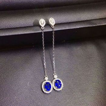 [MeiBaPJ] Sri Lanka Natural Sapphire Gemstone Long Chain Drop Earrings Real 925 Silver Fashion Fine Charm Jewelry for Women