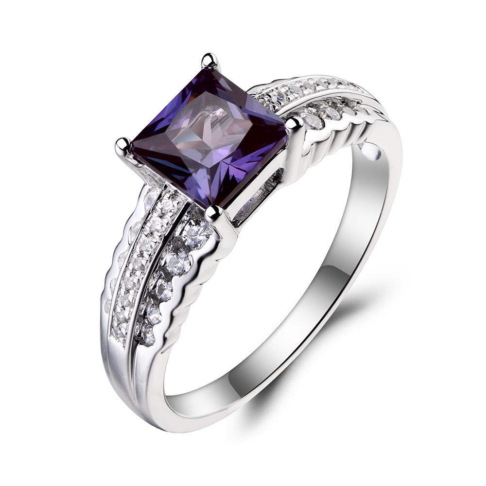 leige jewelry alexandrite ring alexandrite wedding ring june birthstone princess cut gemstone solid 925 sterling silver for her in rings from jewelry - Alexandrite Wedding Ring