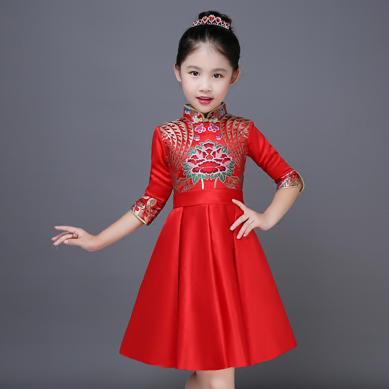 2017 autumn embroidery flower princess girls formal dresses halloween party chinese traditional style qipao prom tutu dress a three dimensional embroidery of flowers trees and fruits chinese embroidery handmade art design book
