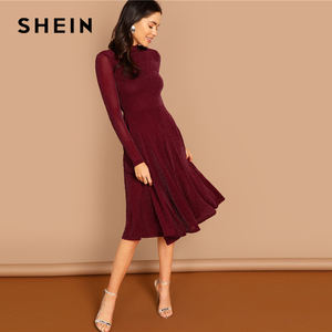 Image 4 - Shein borgonha indo para fora mock pescoço gola de manga longa glitter ajuste alargamento a linha vestido outono workwear vestidos femininos
