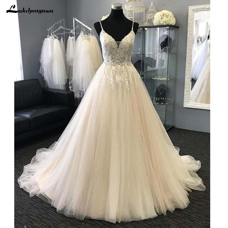 Sexy V neck Beach Wedding Dresses Appliques Tulle A Line Long Bride Gown Dress Robe de