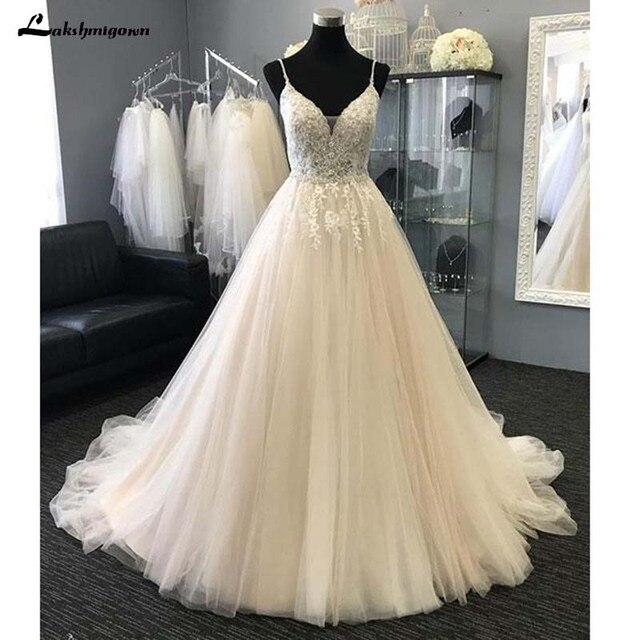Sexy Com Decote Em V de Praia Vestidos de Noiva Apliques Tulle Uma Longa Linha vestido de Noiva Vestido de Robe de mariie