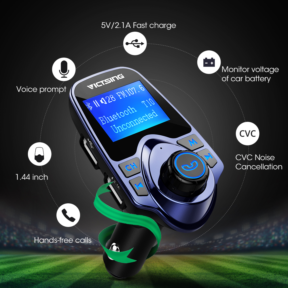 VicTsing In-Car FM Transmitter Radio Adapter 1.44 Car Kit USB car charger support tablet, MP3, MP4, TF card usb disk music wireless bluetooth headset fm transmitter mp3 radio adapter car kit supports tf sd card and usb car charger for all smartphones