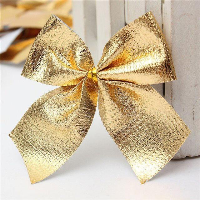 24Pcs Ribbon Christmas Decoration Bows Christmas decorations trees Bow pendant ornaments Santa Claus bell of Christmas tree