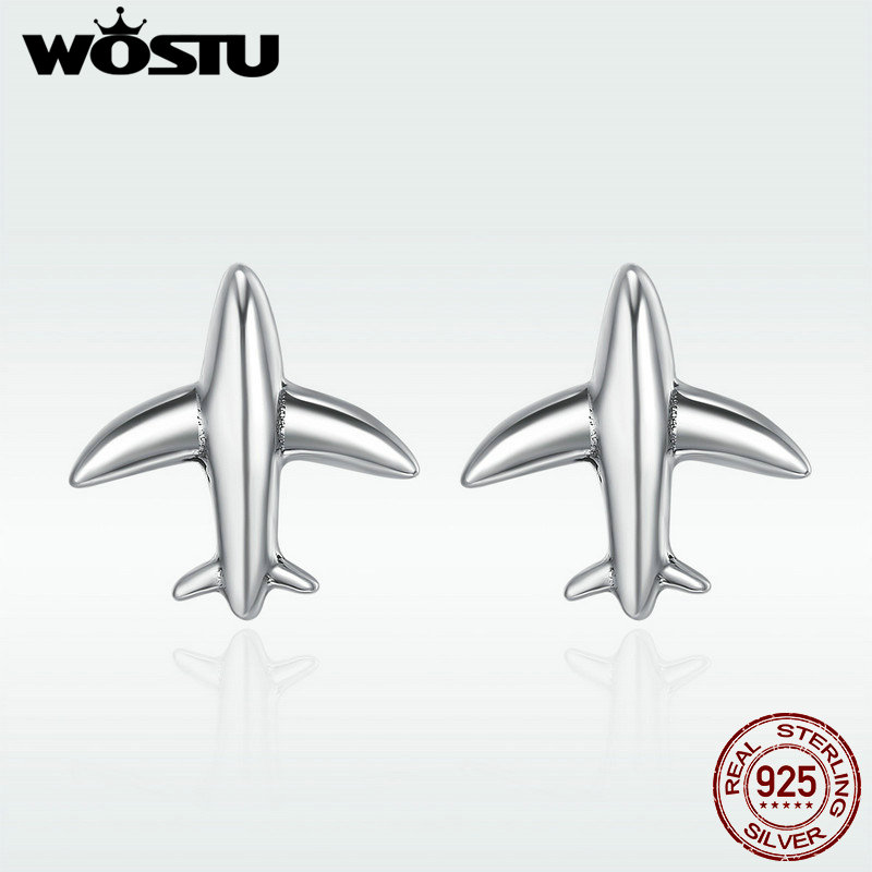 WOSTU 100% 925 Sterling Silver Exquisite Mini Airplane Aircraft Stud Earrings for Women Fashion Jewelry Gift DXE238 image