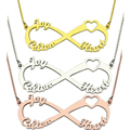 Unique Love Heart  Names Jewelry Box Chain 3 Names Pendant Jewelry Infinity Mom Gift Wholesale