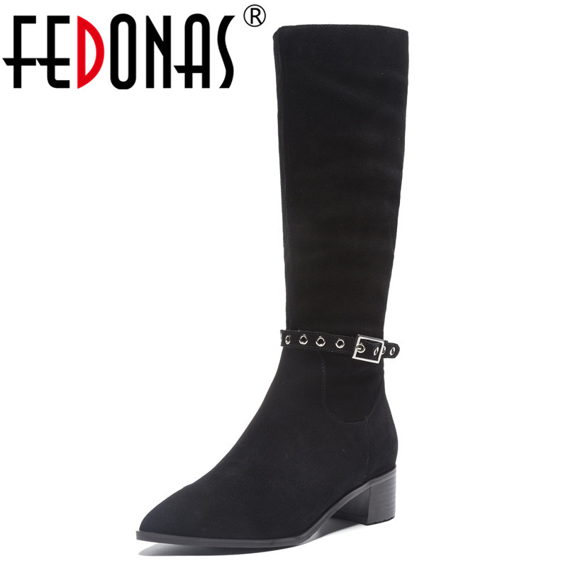 FEDONAS Fashion Brand Women Knee High Boots Rivets Autumn Winter Long Motorcycle Boots Sexy High Heels High Knight Boots Shoes