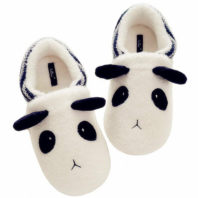 Winter Indoor Household Shoes Of The Knitted Snowflake Panda Slippers