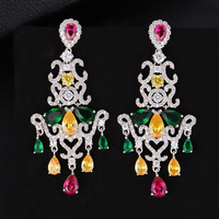 SisCathy New Unique Women Dubai Bridal Cubic Zirconia Earrings Big Original Insect Pendant Statement Earrings Fashion Jewelry