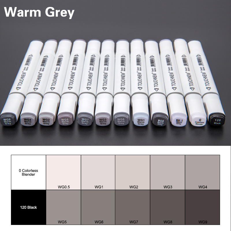 TOUCHNEW 12/30Color Cool Gray Marker Warm Gray Marker Set Dual Tips Alcohol Based Art Marker For Drawing Manga Mark Art Supplier