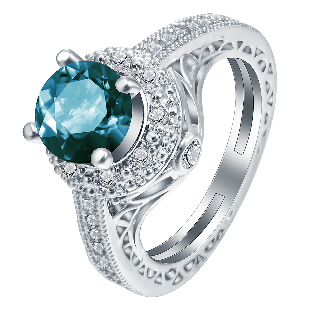 Wedding Ring Vintage Cubic Zirconia Silver Plated Elegant Blue Round Stone  Women Rings Simple Design Engagement