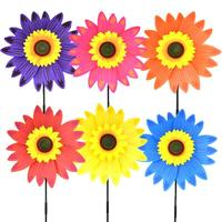 6pcs Kids Pinwheel 3D Sunflower Plastic Toy Windmill Party Pinwheels Wind Spinner for Birthdays Party Decoration Gift