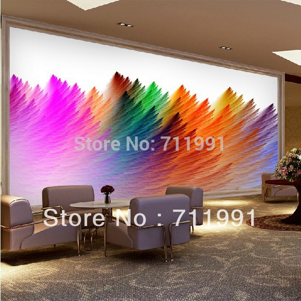 2015 Neue Ankunft Neues Freies Verschiffen Regenbogen Farbige Tapete  Künstlerische Persönlichkeit Wohnzimmer Sofa Schlafzimmer Wandbilder  Benutzerdefinierte