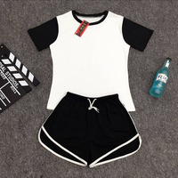 Spring And Summer 2016 Pure Cotton Short Sleeve Shorts In Black And Gray Two Colors Sport