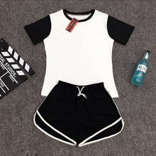 Tracksuit for women Spring And Summer 2016 Short Sleeve tshirt And Shorts Women's suits In Two Colors Sets Women Plus Size