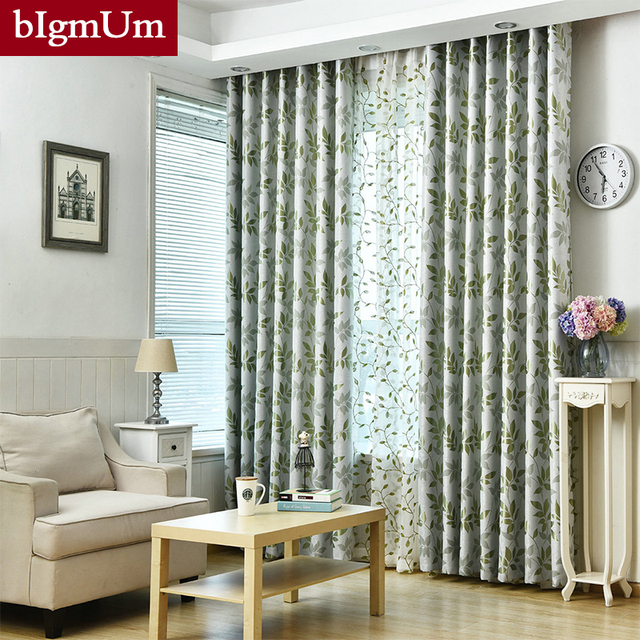 Printed Embroidery Tulle Double Curtains For Living Room Bedroom Blackout  Windows Drapes Heavy And Thick Drape