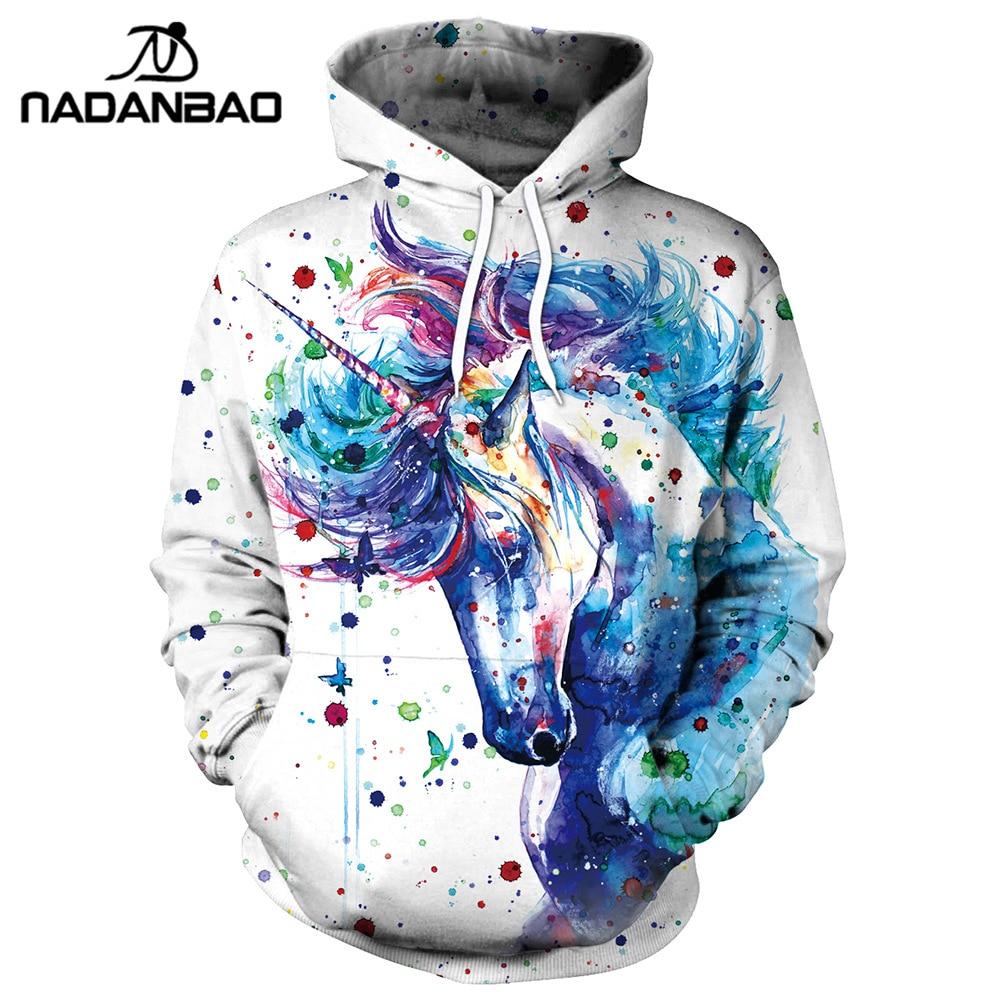 Rainbow Unicorn Pegasus Hooded Sweatshirts Long Sleeve Pullover Mens