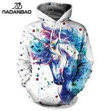 NADANBAO Brand Winter Women Sweatshirt Unicorn 3D Printed Ca