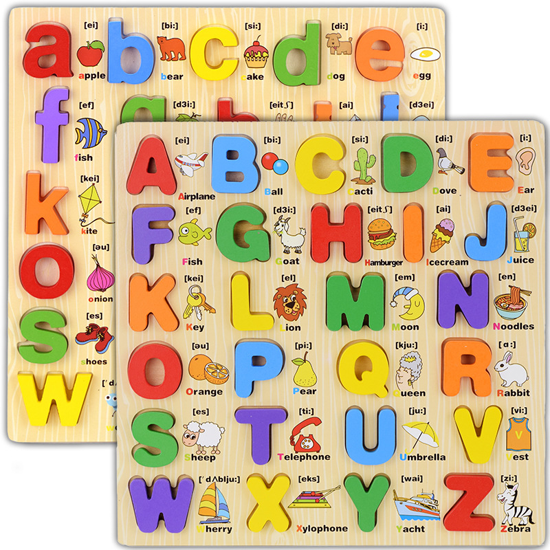 Бесплатная доставка детские деревянные мультфильм английский письмо игрушка-головоломка, Детские Язык Обучающие игрушки фребеля/Монтессо...