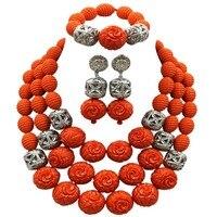 Дубай золото заявление Цепочки и ожерелья комплект ювелирных изделий Оранжевый искусственный Коралл африканские бусы свадьбы в нигерийск