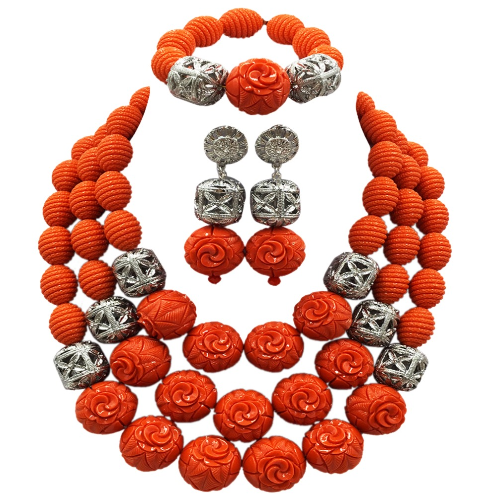 Dubai Gold Statement Necklace Jewelry Set Orange Artificial Coral African Beads Wedding Nigerian Costume Jewellery Set ACB-21 latest yellow and gold beaded artificial coral nigerian wedding african beads jewelry set acb 11
