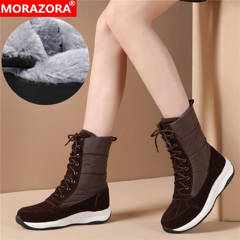 Ayakk.'ten Ayak Bileği Çizmeler'de MORAZORA 2020 Yeni kadın yarım çizmeler süet deri + Aşağı su geçirmez kar botları kadın moda rahat ayakkabılar kadın kışlık botlar'da  Grup 1