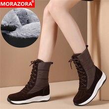 MORAZORA 2020 החדש נשים קרסול מגפי זמש עור + למטה עמיד למים שלג מגפי נשים אופנה נעליים יומיומיות אישה חורף מגפיים