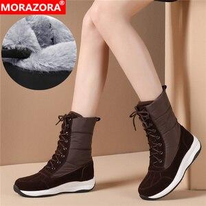 Image 1 - Morazora 2020 最新の女性アンクルブーツスエード革 + ダウン防水雪のブーツの女性ファッションカジュアル靴の女性の冬