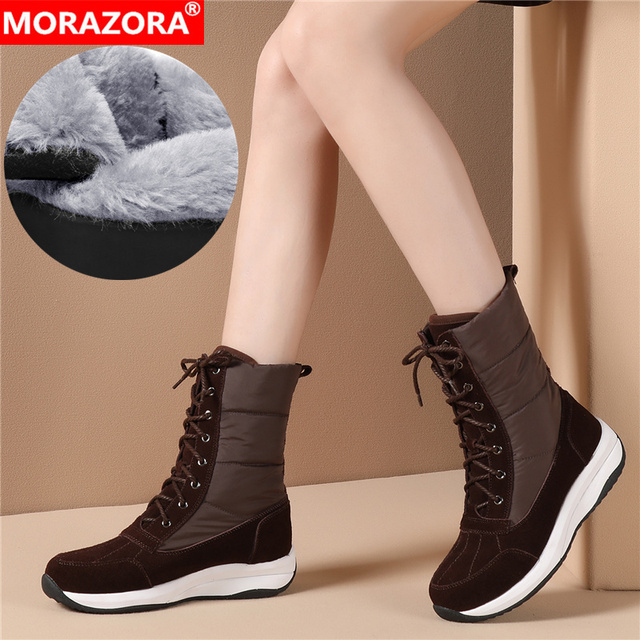Morazora 2020 最新の女性アンクルブーツスエード革 + ダウン防水雪のブーツの女性ファッションカジュアル靴の女性の冬