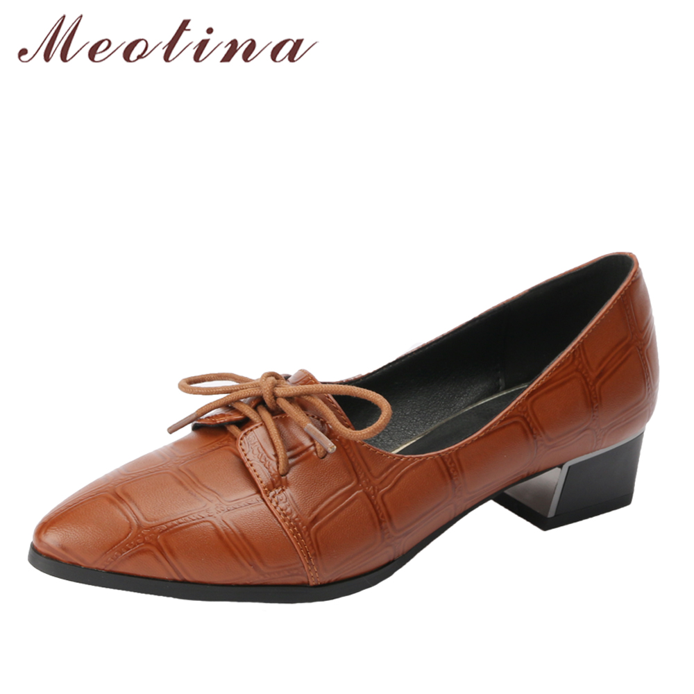 Meotina Women Pumps Med High Heels Ladies Shoes Lace Up Pointed Toe Thick Heel Female Shoes Pleated Casual 2018 Spring Shoes New meotina shoes women high heels ladies pumps big size 34 42 spring pointed toe mary jane career chunky high heel black lady shoes