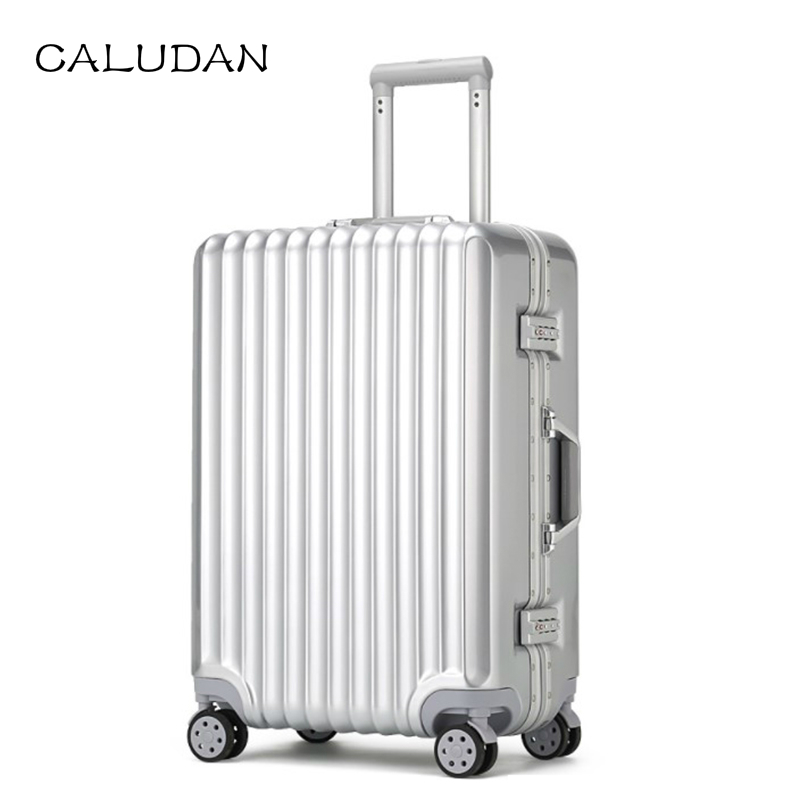 Rolling-Luggage Travel-Suitcase On-Wheel Aluminum-Frame Spinner Pc 20-22''24-