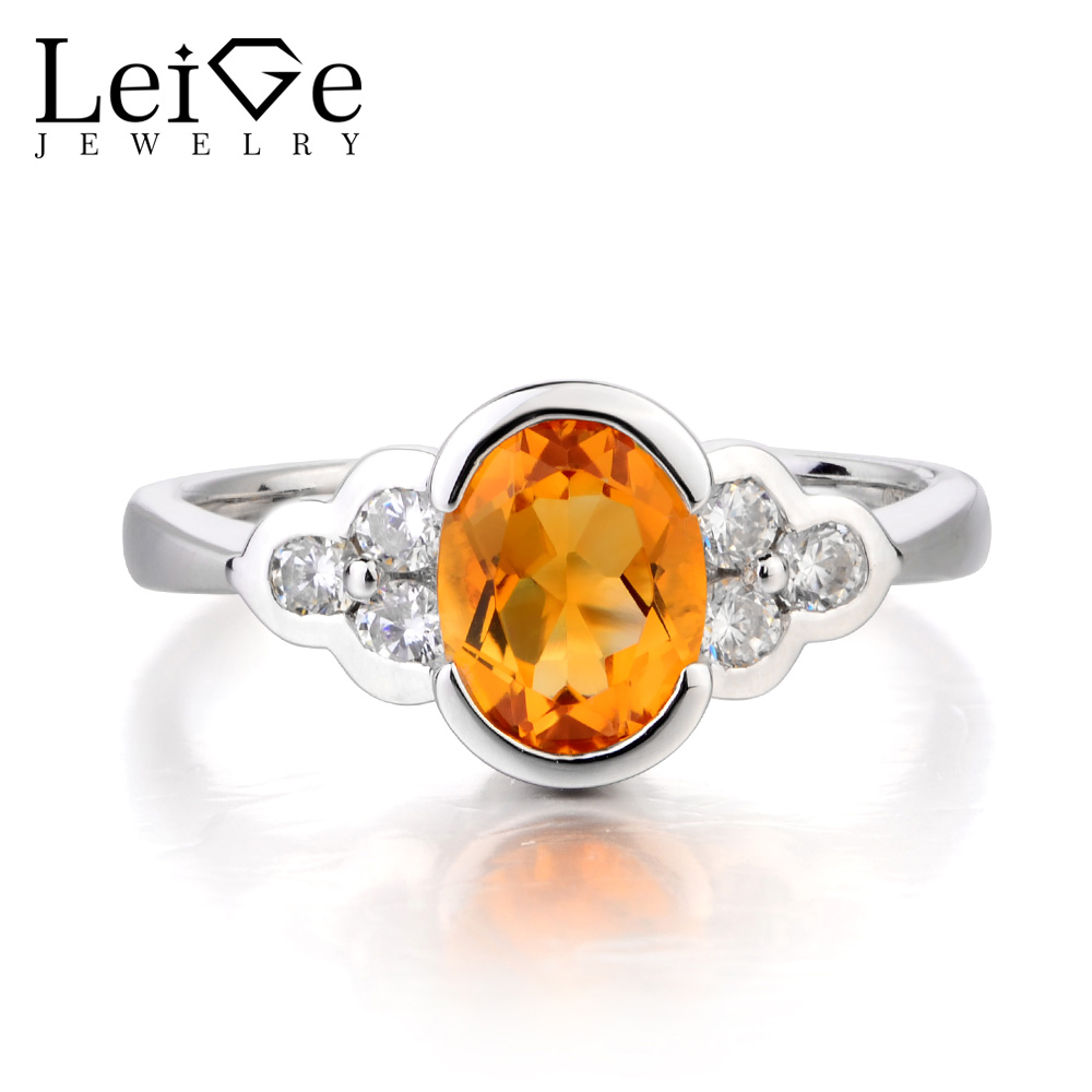 купить Leige Jewelry Natural Yellow Citrine Ring Citrine Silver Ring Cocktail Party Ring Oval Cut Gemstone 925 Sterling Silver for Lady по цене 6323.77 рублей