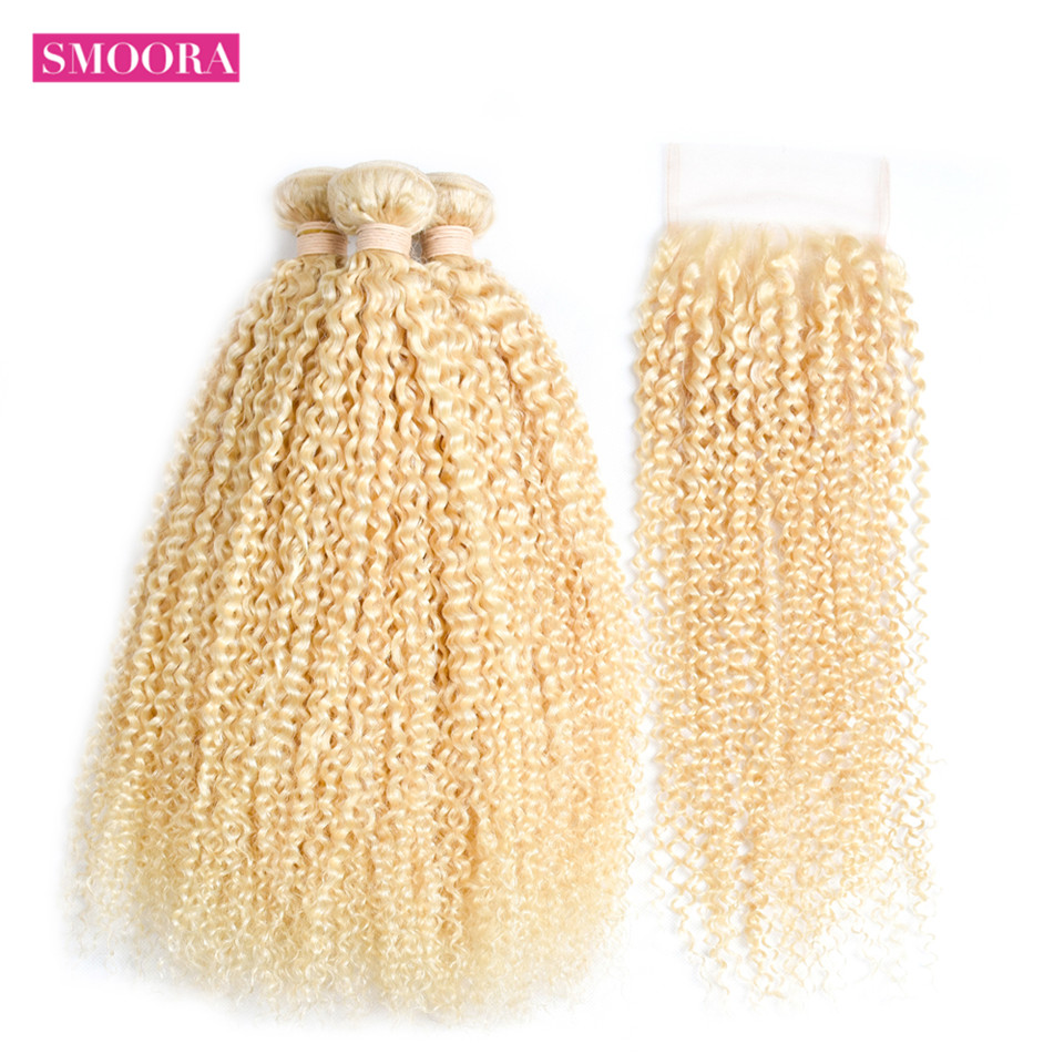 Smoora Волосы Remy бразильский странный вьющиеся волосы 4 Связки с Синтетическое закрытие волос 613 Блондин Цвет Человеческие волосы с 4x4 прозрачн...