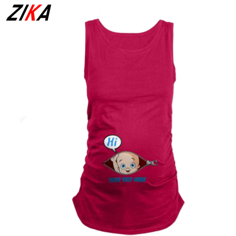 ZIKA Maternity Clothes Summer Sleeveless Tops Euope Digital Printed Clothing For Pregnant Woman Maternity Vests Plus Size