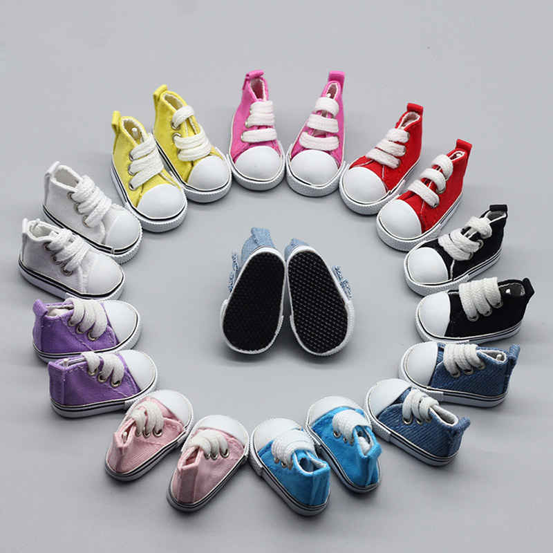 5cm Canvas Shoes For Dolls Cool Fashion Mini Shoes Doll Shoes For DIY Handmade Doll Baby Doll Accessories Sneakers(China)