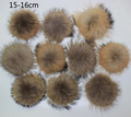 20pcs/ lot DIY 15-16cm Real Natural Raccoon Fur Pompoms for knitted beanies hat caps keychain and scarves fur pom Wholesale