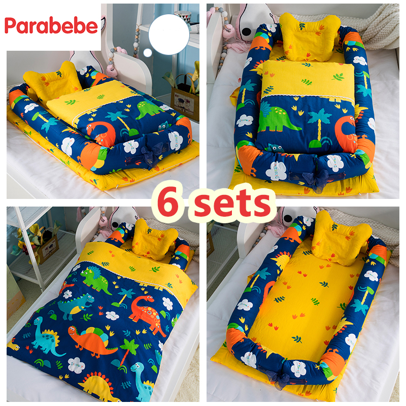 6 Sets Cotton Baby Bed  Cradle Crib Soft  Warm Mattress Portable Bed Prevent Pressure To The Baby With Quilt