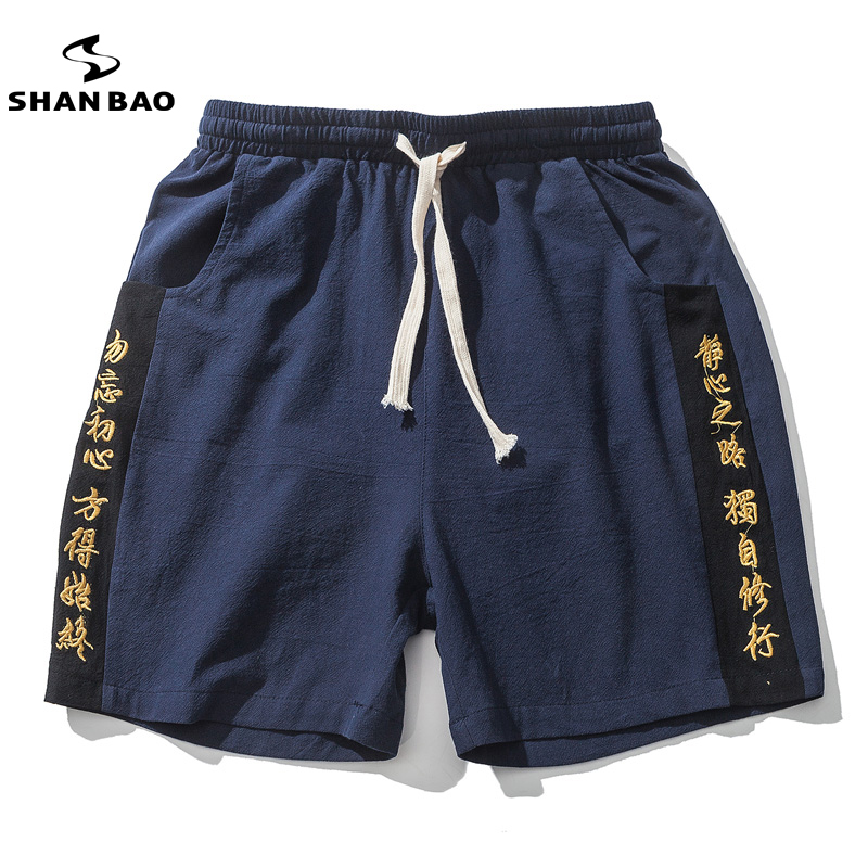 SHAN BAO Brand Chinese Style Chinese Embroidery Men's Casual Shorts 2018 Summer High Quality Comfortable Solid Linen Shorts