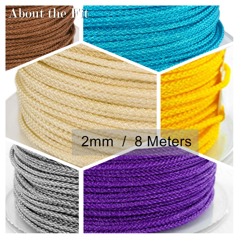 Nylon Cords 2mm 8M/Roll Braided Thread DIY String Strap Ropes Beading Bracelet For Jewelry Making Tassels Macrame Rattail Lacing