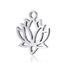 10pcs Real Stainless Steel Lotus Flower Pendant Charms Fashion for DIY Jewelry Bracelet Making Findings Accessory