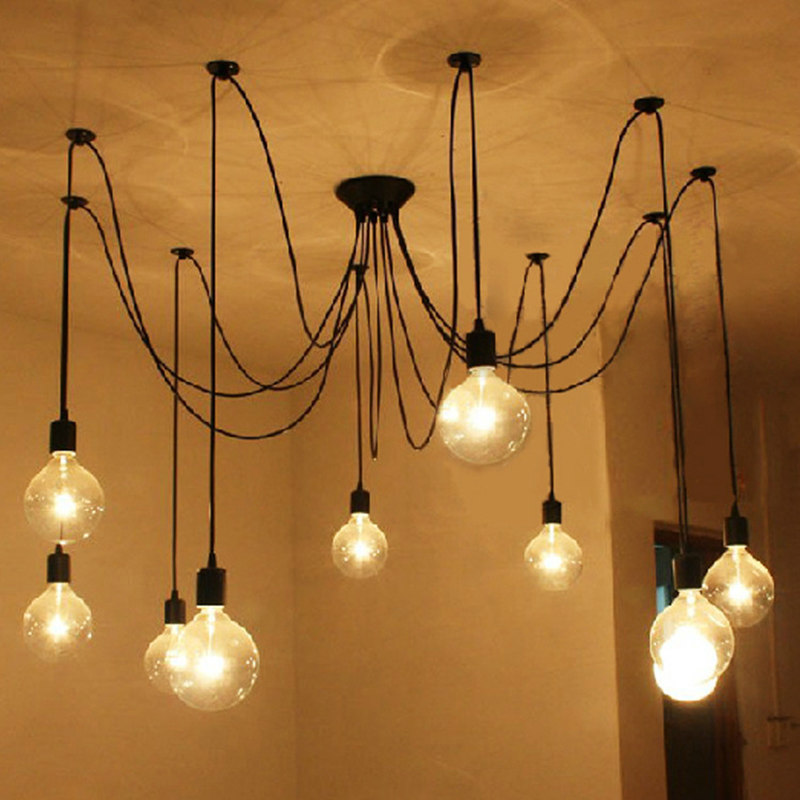 DIY Vintage Nordic Spider Pendant Lamp Multiple Adjustable Retro Pendant Lights Loft Classic Decorative Fixture Lightings loft antique retro spider chandelier art black diy e27 vintage adjustable edison bulb pendant lamp haning fixture lighting
