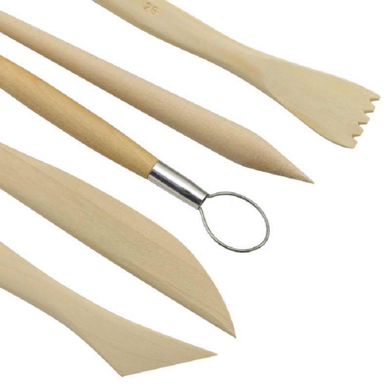 5Pcs/Set DIY Clay Knifes Ceramic Soft Clay Sculpture Tools Solid Wood Wood+Stell Pottery Ceramics Tools Length15cm