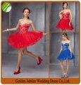 2015 Elegant Appliques Sweetheart Red Blue Tulle Ball Gown Mini Cocktail Dress 2015 Party Dress vestidos de cocktail P12