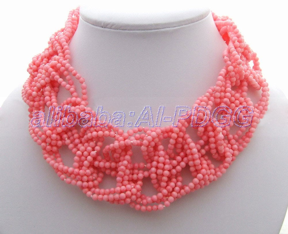 Beautiful! Round Coral Necklace   free  shipmentBeautiful! Round Coral Necklace   free  shipment