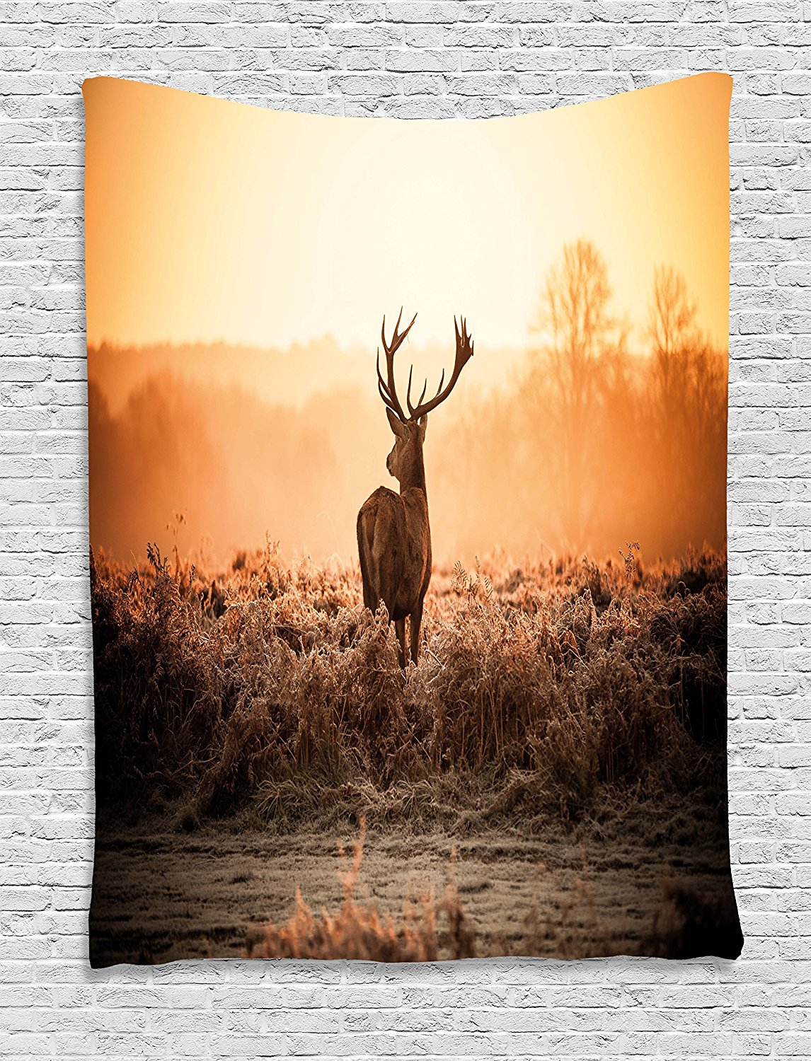 Hunting Decor Tapestry Red Deer in the Morning Sun Wild Nature Scenery Countryside Rural Heathers, Wall Hanging for Bedroom