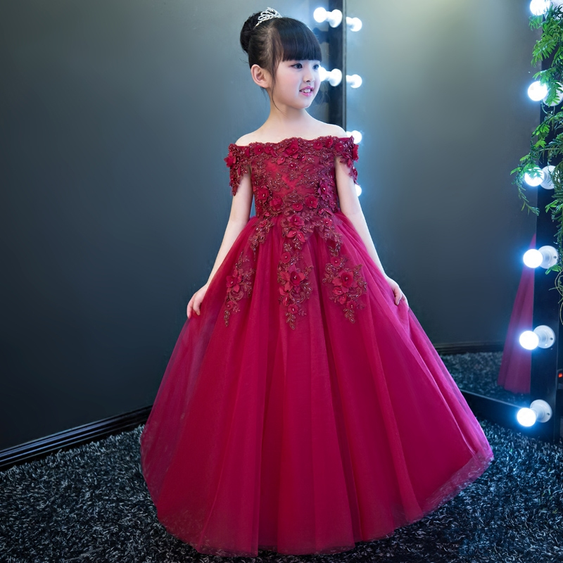 2017 New Popular Wine-Red Color Girls Children Embroidery Flowers Princess Long Dress Kids Wedding Princess Lace Costume Dress
