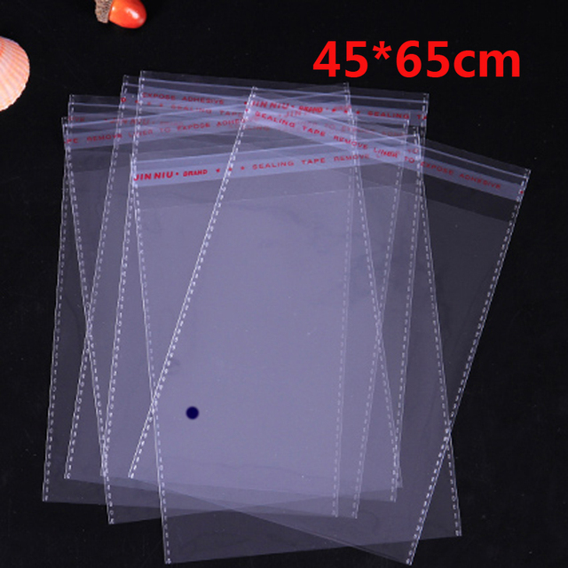 100 Pcs 45*65cm Transparent Self Adhesive Seal Poly Plastic Bags Crystal Clear Cellophane Cello