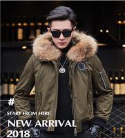 Real Raccoon Fur collar Men Winter coat Leather Jacket Wool inside chaquetas de cuero genuino para hombre veste cuir biker homme